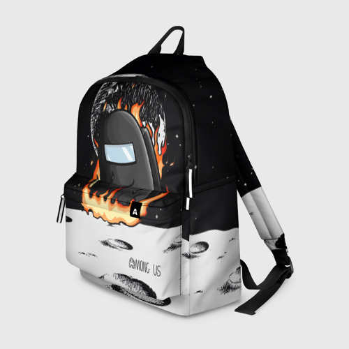 Рюкзак 3D с принтом Among Us fire, вид спереди #2