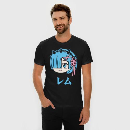Мужская футболка премиум с принтом Re:Zero, Рем, фото на моделе #1