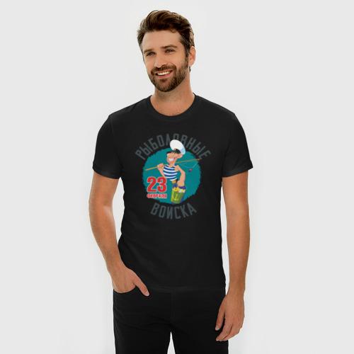Мужская футболка премиум с принтом 23 Февраля Рыболовные Войска, фото на моделе #1