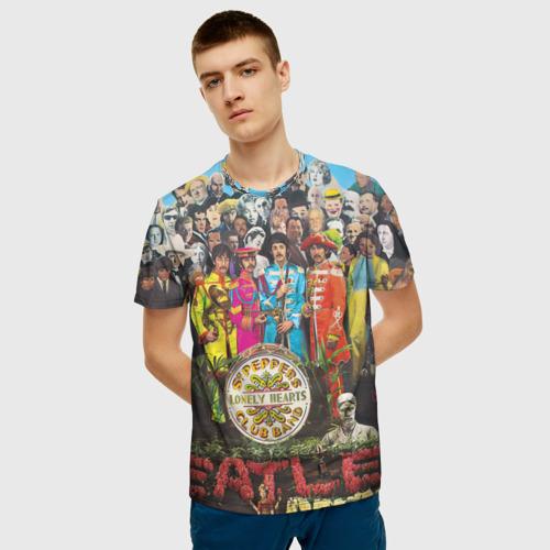 Мужская 3D футболка с принтом THE BEATLES, фото на моделе #1