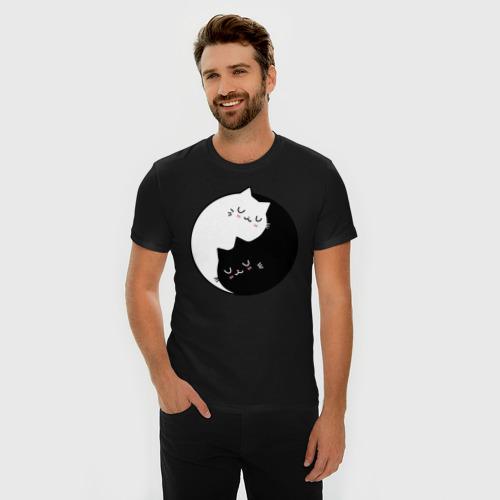 Мужская футболка премиум с принтом Yin and Yang cats, фото на моделе #1