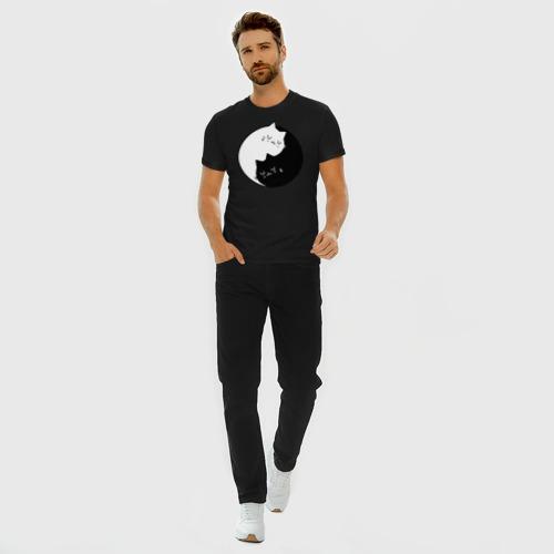 Мужская футболка премиум с принтом Yin and Yang cats, вид сбоку #3