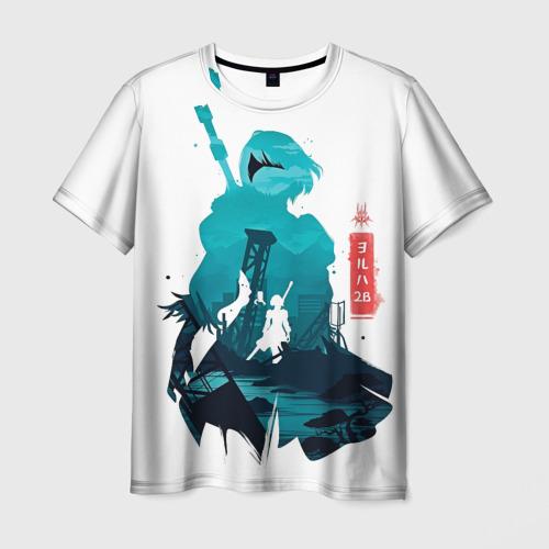 Мужская 3D футболка с принтом NIER AUTOMATA 2B, вид спереди #2