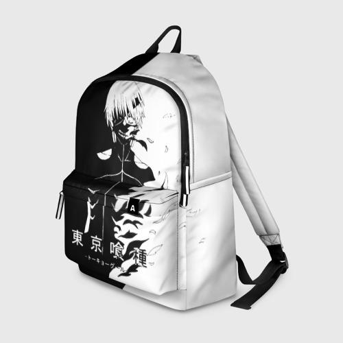 Рюкзак 3D с принтом Токийский гуль черно белый Кен, вид спереди #2