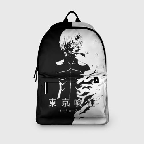 Рюкзак 3D с принтом Токийский гуль черно белый Кен, вид сбоку #3