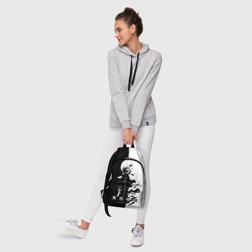 Рюкзак 3D с принтом Токийский гуль черно белый Кен, фото #6