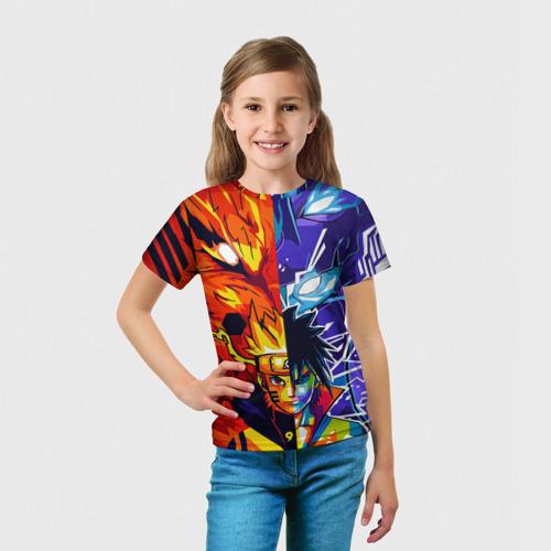 Детская 3D футболка с принтом Наруто и Саске Сусано Курама, вид сбоку #3