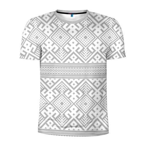 Мужская футболка 3D спортивная с принтом Русские народные узоры, вид спереди #2