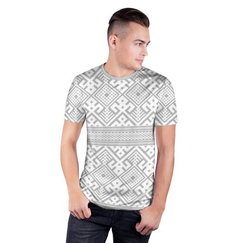 Мужская футболка 3D спортивная с принтом Русские народные узоры, фото на моделе #1