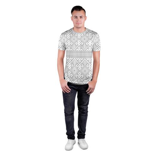 Мужская футболка 3D спортивная с принтом Русские народные узоры, вид сбоку #3