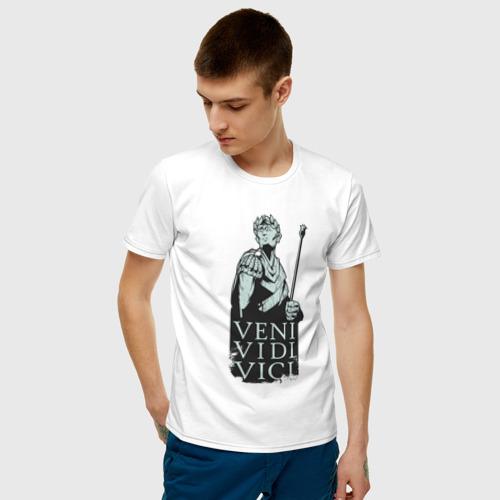 Мужская футболка с принтом Цезарь - Veni Vidi Vici, фото на моделе #1