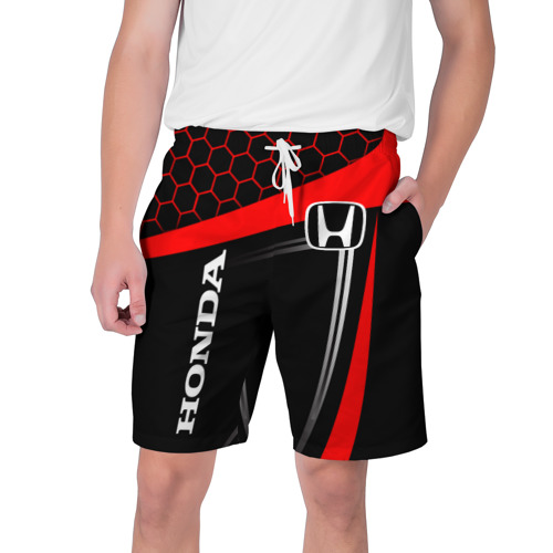 Мужские шорты 3D с принтом HONDA / ХОНДА / SPORT, вид спереди #2