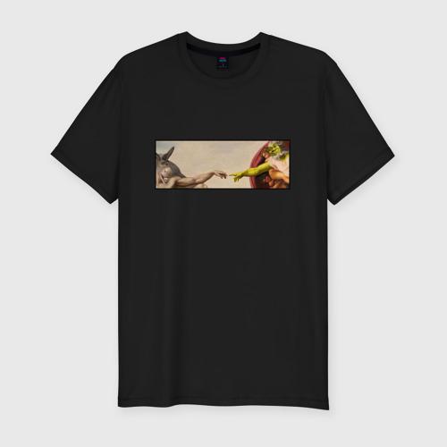 Мужская футболка премиум Шрек - Сотворение ослика