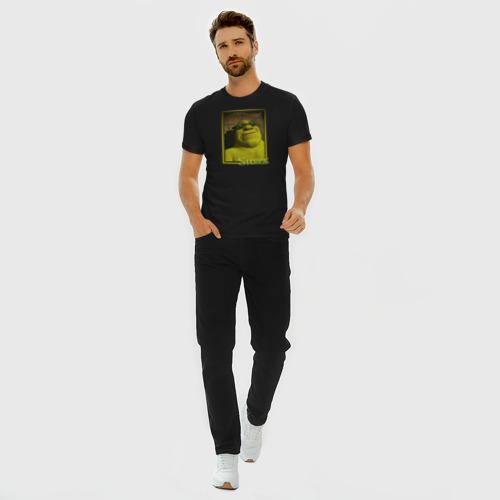 Мужская футболка премиум с принтом Шрек в Очках, вид сбоку #3