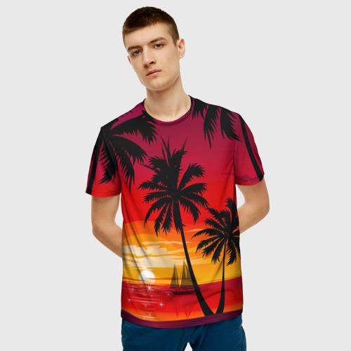 Мужская 3D футболка с принтом Гавайский закат, фото на моделе #1