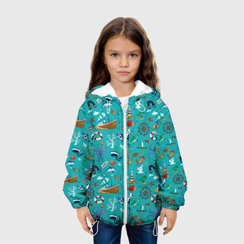 Детская 3D куртка с принтом Морские обитатели, вид сбоку #3