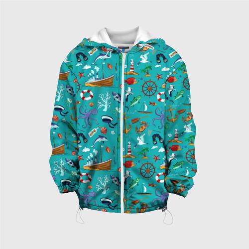 Детская 3D куртка с принтом Морские обитатели, вид спереди #2