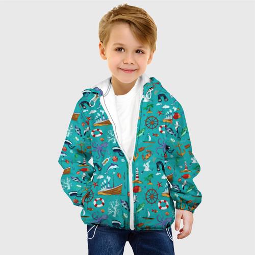 Детская 3D куртка с принтом Морские обитатели, фото на моделе #1
