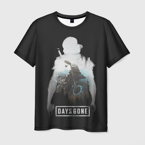 Мужская 3D футболка с принтом Days gone силуэт Дикона, вид спереди #2
