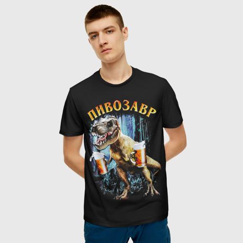 Мужская 3D футболка с принтом Пивозавр, фото на моделе #1