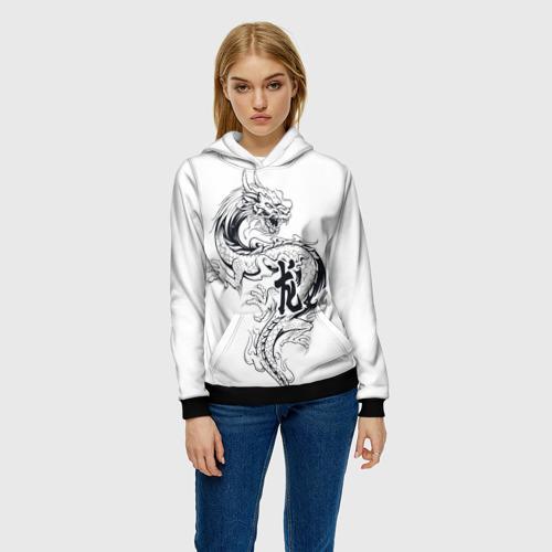 Женская 3D толстовка с принтом Китайский дракон на белом фоне, фото на моделе #1