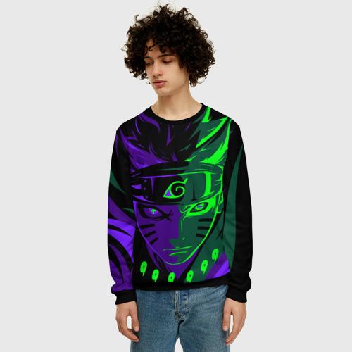 Мужской 3D свитшот с принтом Фиолетово-Зеленый Неон   NEON, фото на моделе #1