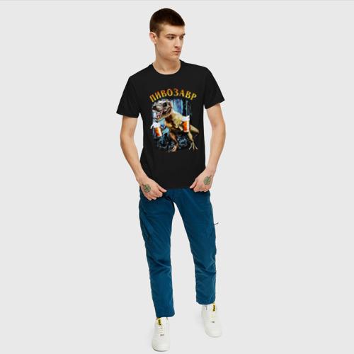 Мужская футболка с принтом Пивозавр Динозавр с пивом, вид сбоку #3