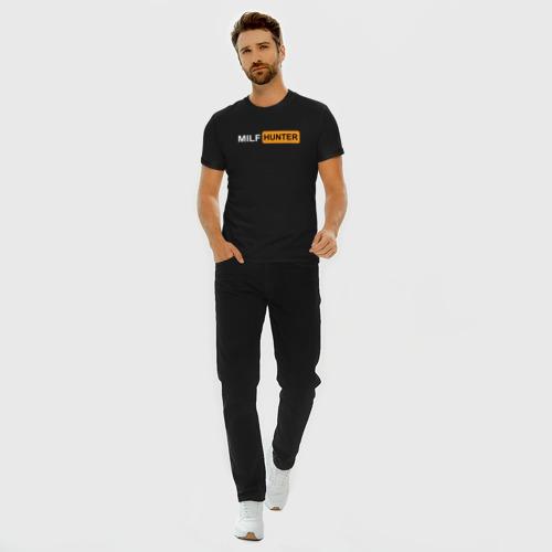 Мужская футболка премиум с принтом MILF HUNTER / МИЛФ ОХОТНИК, вид сбоку #3