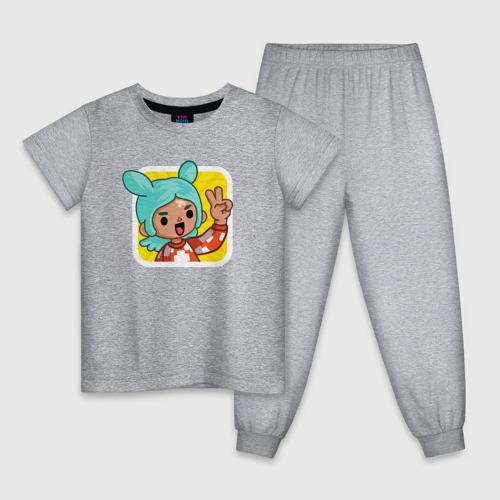 Детская пижама с принтом Icon Toca Boca, вид спереди #2
