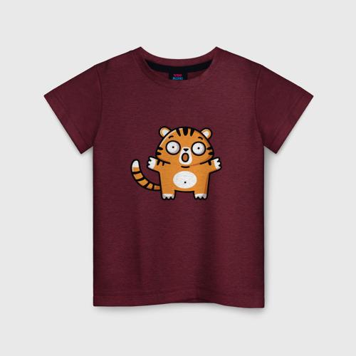 Детская футболка с принтом Испуганный тигренок, вид спереди #2