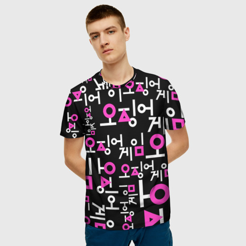 Мужская 3D футболка с принтом Игра в кальмара (лого узор), фото на моделе #1