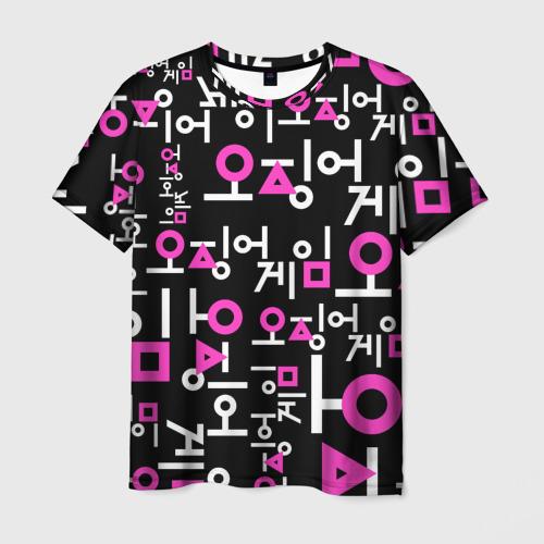 Мужская 3D футболка с принтом Игра в кальмара (лого узор), вид спереди #2