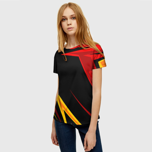 Женская 3D футболка с принтом Уникальные линии, фото на моделе #1