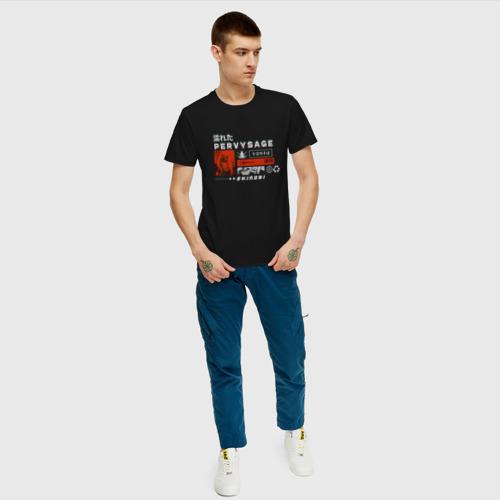 Мужская футболка с принтом Джирайя глитч, вид сбоку #3