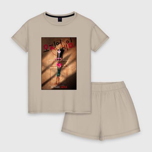 Женская пижама с шортиками хлопок с принтом ИГРА В КАЛЬМАРА, ПОСТЕР, вид спереди #2