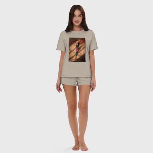 Женская пижама с шортиками хлопок с принтом ИГРА В КАЛЬМАРА, ПОСТЕР, вид сбоку #3