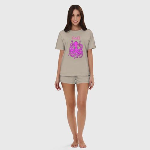 Женская пижама с шортиками хлопок с принтом Кальмар с лого, вид сбоку #3